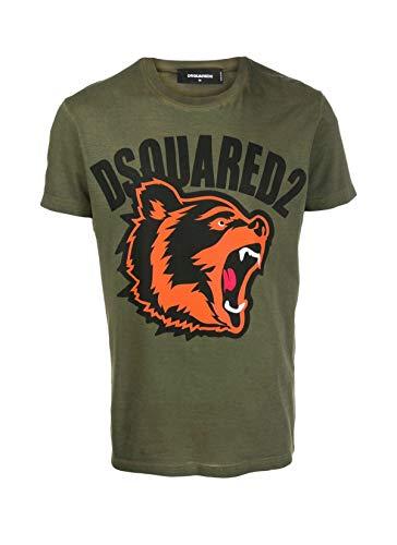Dsquared2 T-Shirt con Logo dell'orso Stampato Green Large
