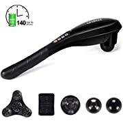 RENPHO Cordless Handheld Full Body Massager with High Capacity Rechargeable Batteries Percussion Massage for Neck Back Foot Muscles Shoulder and Calf Pain Relief Home Office Travel - Black