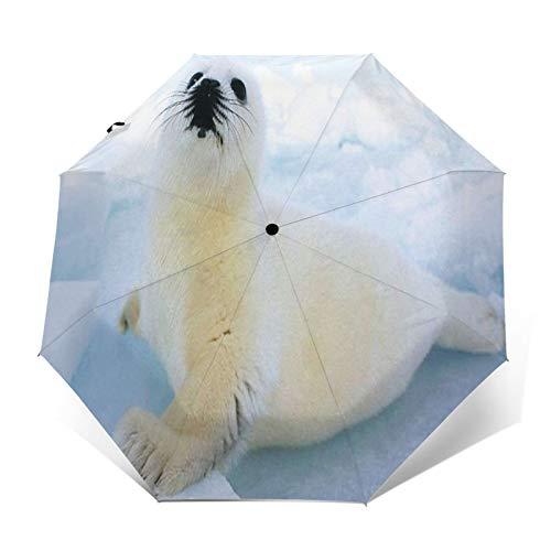 Paraguas Plegable Automático Impermeable Cría de Foca, Paraguas De Viaje Compacto a...