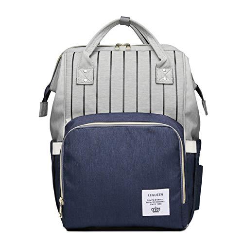 Leyeet Mommy Schwangerschafts-Windelrucksack für Reisen, groß, geräumig, Schultertasche, Stilltasche, Organizer, Farbe: Grau + Blau