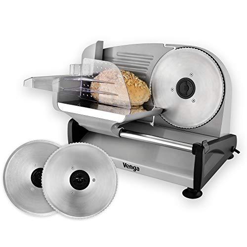 Venga! Cortafiambres eléctrico, 1 hoja dentada para el pan, 1 hoja lisa para la charcutería y las verduras, ajuste de precisión del grosor de 0 a 15 mm, carro extraíble y empujador, 200W