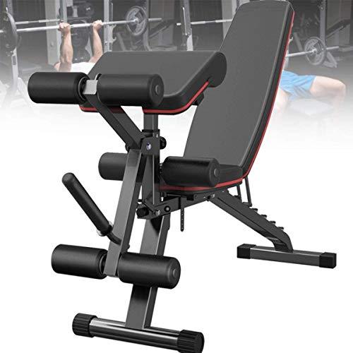 VULID Faltbare Fitness Flachbank, Hantelbank mit Beinstrecker und Beinbeuger, 7-Fach verstellbare Rückenlehne, Maximallast von 300 kg für Hauptgymnastik, Ganzkörpertraining