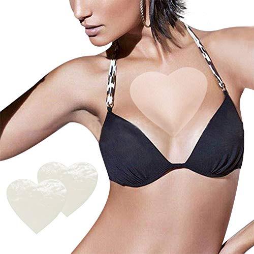SENDILI Damen Silikon Anti Falten Pad Herzförmige Brust Aufkleber - 2 Stück Anti Falten Brust Pad Straffen Sie die Brusthaut und verhindern Sie Brustfalten Wiederverwendbare Brustpolster (Transparent