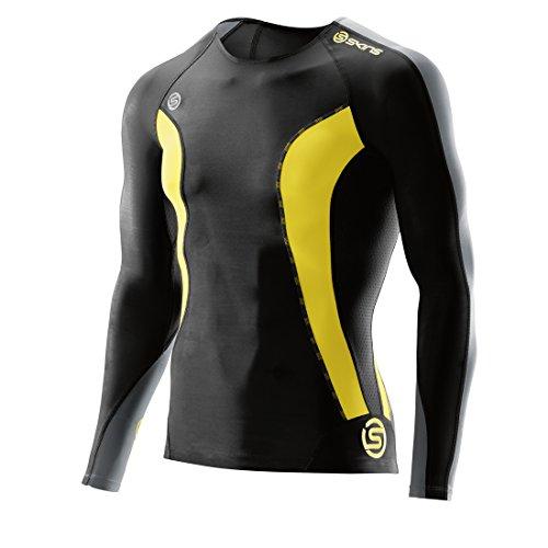 SKINS Men's  DNAmic Men's Compression Long sleeve Top, black/Citron, Large