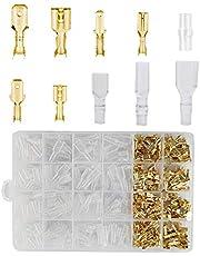 YIXISI 300 Piezas 2.8mm/4.8mm/6.3mm Terminales Eléctricos de Crimpado Kit,Terminales Eléctricos de Crimpado Kit Para Conector de Cable