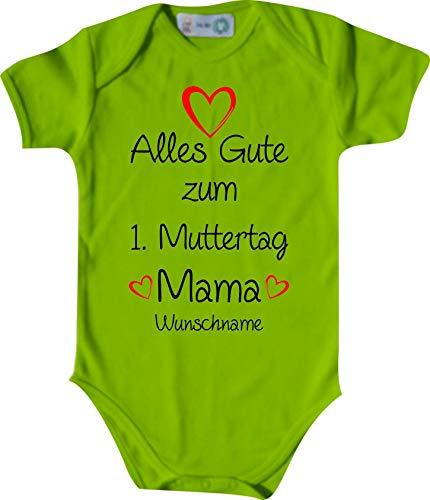 Shirtinstyle Body Todo Buena para 1. Día de la Madre Mamá Solicitud Nombre Name Texto, Manga Corta Body de Bebé, Bebé, Nacimiento, Bautizo, Pelele - Lima, 74-80