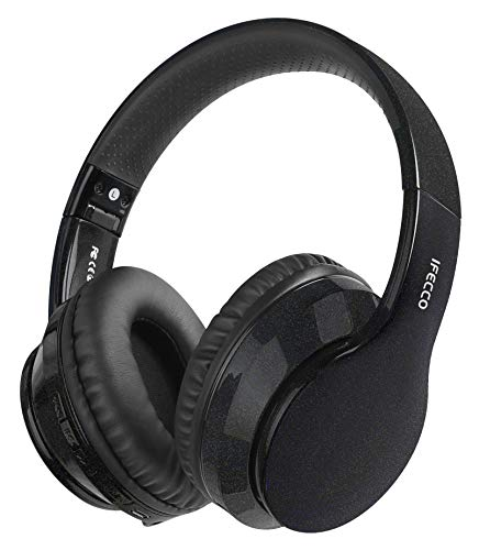 Cuffie Wireless Over Ear, Cuffie Bluetooth Senza Fili con Microfono Incorporato, Cuffie Stereo Pieghevoli Audio Hi-Fi per Telefono/Pc/Tv/Online, Comodi Paraorecchie per Indossare a Lungo (M, Nero)