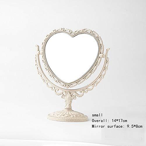 Specchio cosmetico l specchio cosmetico per trucco 3X Zoom Espejo de tocador giratorio de espejo de tocador portátil estilo europeo espejo de tocador, retro vintage de doble cara espejo de vestidor pa