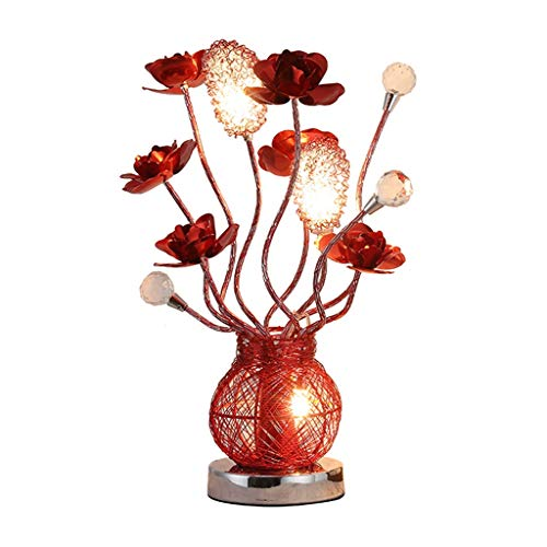 zlw-shop lámpara de Noche Lámpara de Mesa Creativa Europea LED Rosa roja decoración de Arte Dormitorio de Cristal Sala de Estar lámpara de Noche Luz de Escritorio