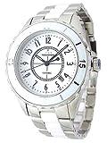 TECHNOS テクノス メンズ 腕時計 セラミック ホワイトダイヤル シルバー/ホワイトコンビ ベルト調節工具付属 TSM917TW-SET [並行輸入品]