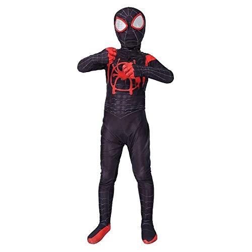 SPIDERMANHTT Disfraz de Cosplay de Spider-Man for niños Body con Todo Incluido Disfraz de Rendimiento de Juego Negro Impresión 3D Spandex Lycra ( Color : Black , Size : XL )