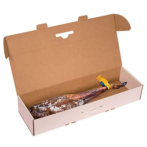 KARTOX | Caja para Jamon |Caja de cartón para Paleta de jamón |Color Blanco | 86,5x26,5x14 | 2 Unidades