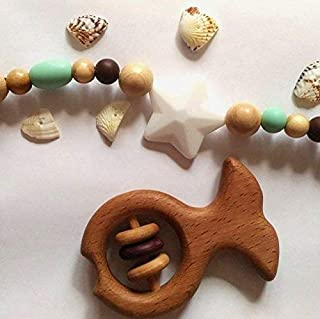 Wooden fish toy. Baby Rattle. Wooden Teether. Organic Wooden Teether. Montessori wood teether