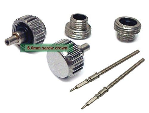 6.0mm Diver Screw Crown Tube Sets + ETA 2824-2 Stem for ETA 2824-2 2836-2 Movements X 2 Sets
