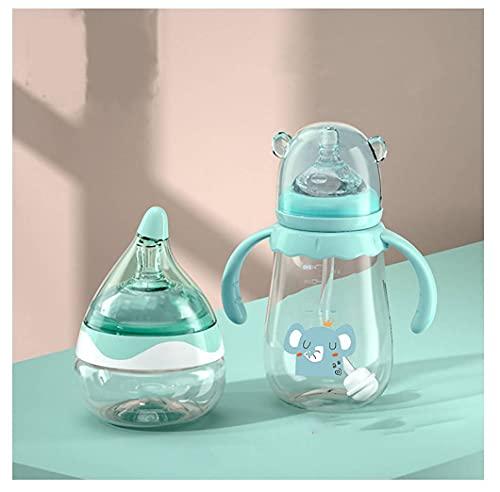Biberones de bebé 80ml de Boca Ancha, antideslumbrante, Botella de alimentación fácil Limpio, Claro y Compacto, bebés adecuados,Green 80ml 240ml,Large