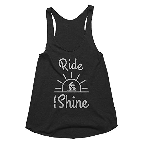 Spunky Pineapple Ride and Shine Spin Class Women Workout Workout Gym Tee Tank Top Shirt for Women Black