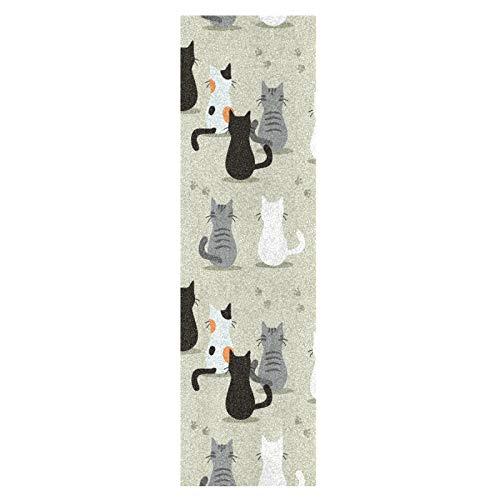Lindo Gatito Gato Blanco Y Negro Monopatín Papel de Lija Antideslizante Hoja Cinta de Agarre Lijas para Patineta Scooter Etiquetas engomadas (84 x 23 cm)