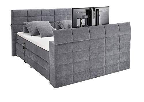 Möbisandmore Designer Boxspringbett 180x200 cm mit Tv Halterung Motor Topper Kokosmatte 7 Gang Bonell Matratze (Silver)