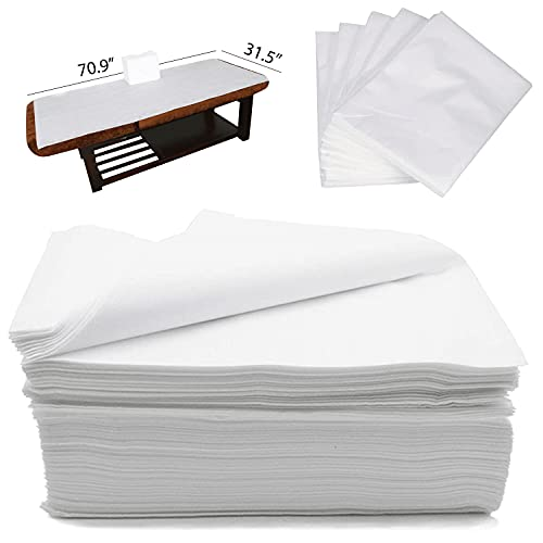 CAPRIER Disposable Bed Sheets 30PCS - Disposable Massage Table Sheets, Large Spa Bed Cover 100 PP+PE Non Woven Fabric Oil-Waterproof, 31,5' x 70.9'
