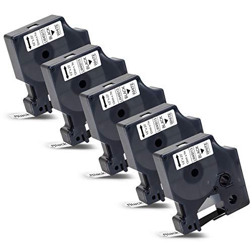 5x Labelwell 12mm x 7m Kompatibel Schriftband Ersatz für Dymo D1 45013 45013s S0720530 Schwarz auf Weiß für Dymo LabelManager 160 210D 360D 280 420P 500TS Labelpoint 250 150 Labelwriter 450 Duo Turbo
