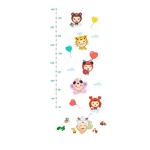 Winhappyhome Cartoon Children's Height Measurement Chart Autocollants pour Kids Room Pépinière Background Amovible Décor Décalcomanies