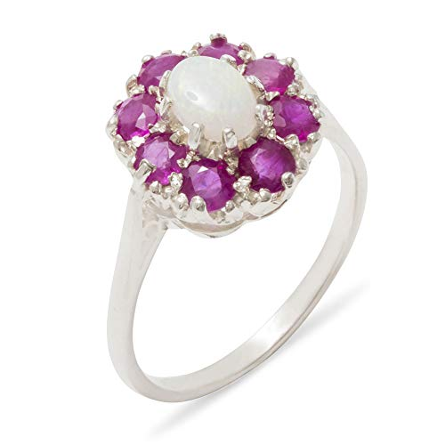 Luxury Ladies Solid Sterling Silver Natural Opal & Ruby Large Cluster Ring - Size U