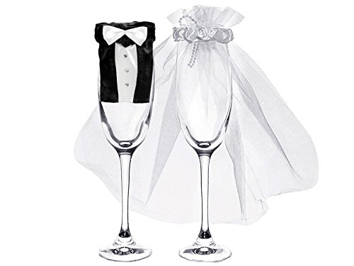 cama24com Sektglas-Deko Brautpaar Bräutigam und Braut 1 Paar Hochzeit Palandi®
