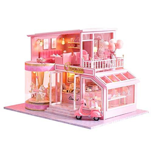 NSWMHDQ Recuerdo de la Infancia en Miniatura, Juegos de muñecas de Madera Caliente de Bricolaje Dollhouse Kit, artesanía de Madera casa de muñecas maquetas de Regalos