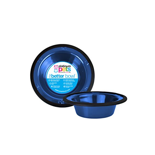 Platinum Pets Eddington Edelstahl mit breitem Rand Schale, blau