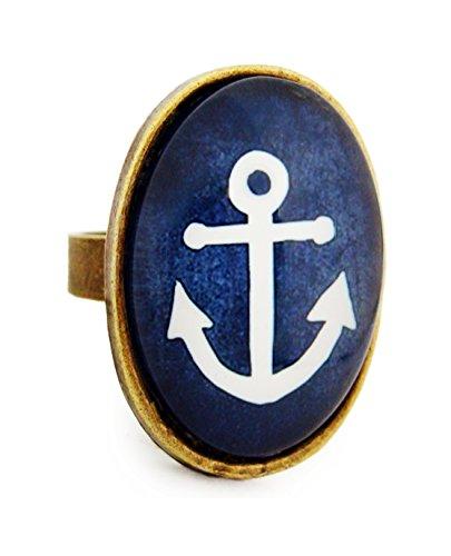 Miss Lovie Ring Damen Anker Motiv Statement Für Mütter Freundin Mädchen Modeschmuck Schmuck Vintage Verstellbar Blau - 25x18mm Cabochon Bronze