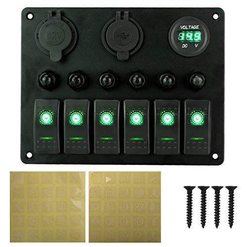 GAOLE Accesorios para interruptores 12V Fuente de alimentación 4 en 1 Panel de interruptores Impermeable Voltímetro Digital Coche Dual USB Cargador Ciguero encendedor de cigarrillos con interruptor de