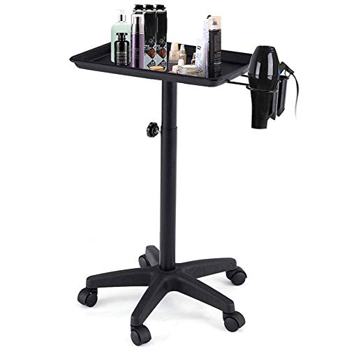 Rolling Instrument Tray, Hairdressing Trolley Cart on Wheel with Hair Dryer Stand Holder for Spa Beauty Tool Storage