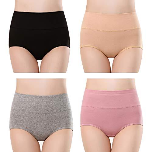 TRISTIN - Bragas de algodón para mujer, cintura alta, calzoncillos completos para mujer