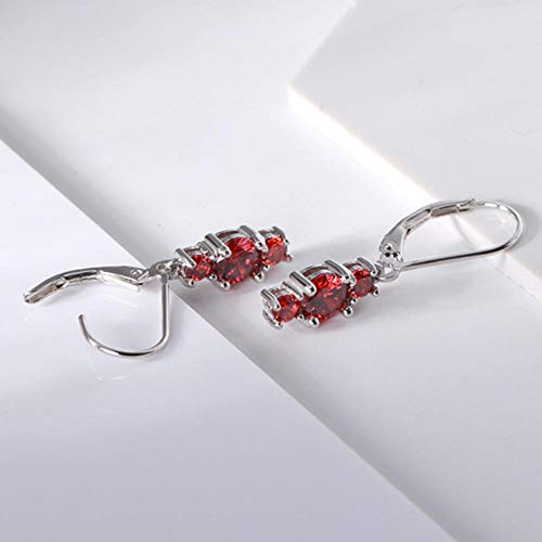 Empty 925 sterling zilver druppel oorbellen rode zirkoon vrouwen party oorring modesieraad