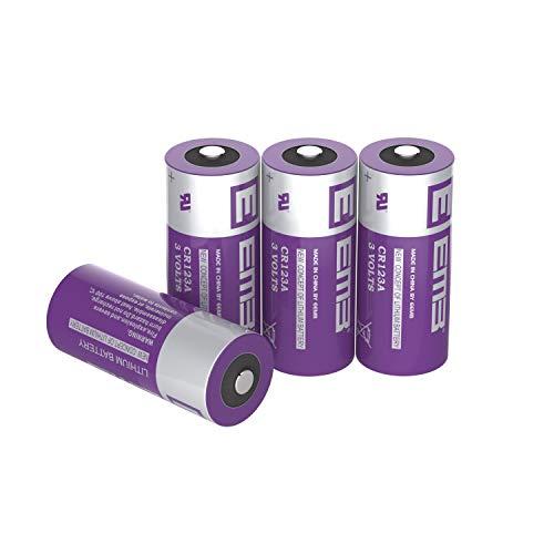 EEMB 4X CR123A Baterías de litio 3V 1500mAh CR123 Batería con alta capacidad para linterna Juguetes Sistema de alarma No recargable