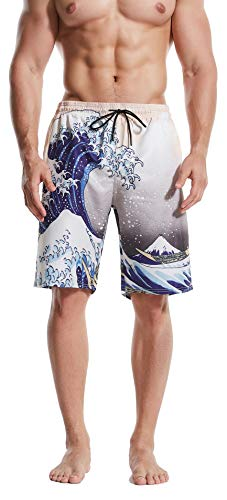 HONG DI HAO Men's Swim Trunks Quick Dry Swimming Trucks for Men Big and Tall Beach Shorts with Lining Mesh