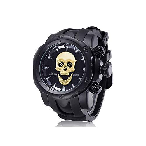 SPORS Reloj de Calavera con Personalidad para Hombre, Reloj de Cuarzo de Silicona con Esfera Grande, Reloj multifunción-black2