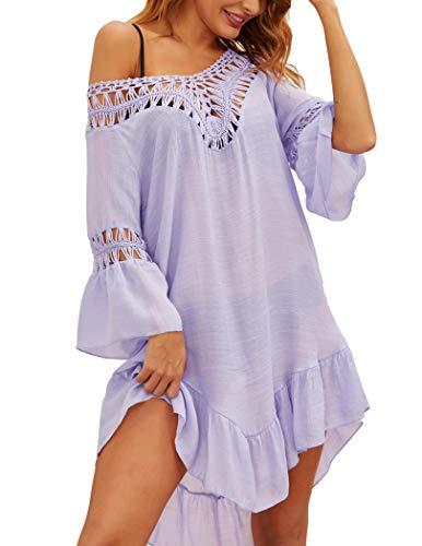 Ekouaer Bikini Coverup for Women Beachwear Swimsuit Short Sleeve Beach Coverup Lavender