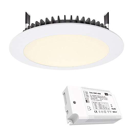 LED-Einbauleuchte 26 W Slim Panel dimmbar Loch 200 mm LED DRIVER DALI 230 V Bianco naturale Alimentatore Dali Dimm.