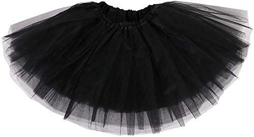 Ksnnrsng Gonna Tutu Donna Classico Elastico 3 Strati Tutu Gonna in Tulle per Vestito Festa Danza (Nero)