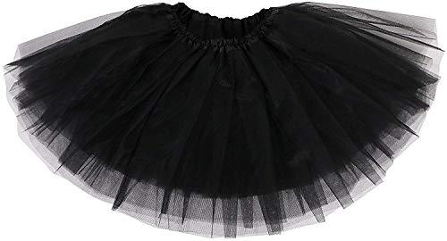 Ksnnrsng Tutu Falda de Mujer Faldas de Tul 50's Short Ballet 3 Capas de Baile para Vestirse Danza (Negro)