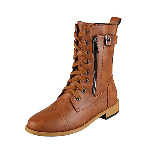 Boots for Women Casual Chunky Heel Side Zipper Boot Knight Boots Breathable Motorcycle Boots Pure Color Round Toe Boots Brown