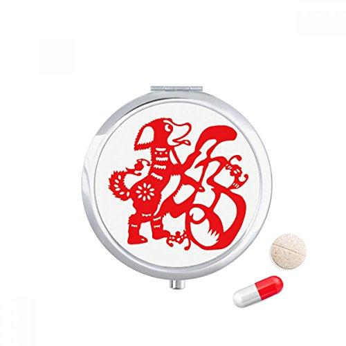 DIYthinker 2018 Rode Hond Papier Snijden Gelukkig Nieuwjaar Reizen Pocket Pill Case Medicine Drug Opbergdoos Dispenser Spiegel Gift