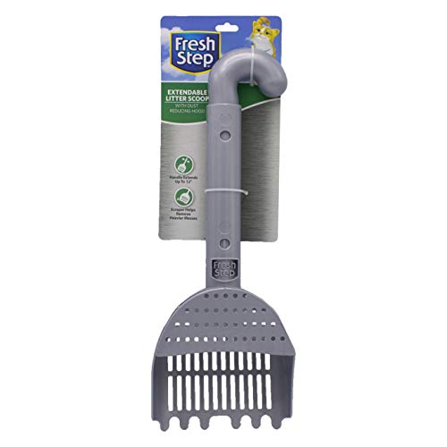 Fresh Step Litter Scoop With Extendable Handle   Cat Litter Box Scoop With Built in Scraper   Kitty Litter Accessories