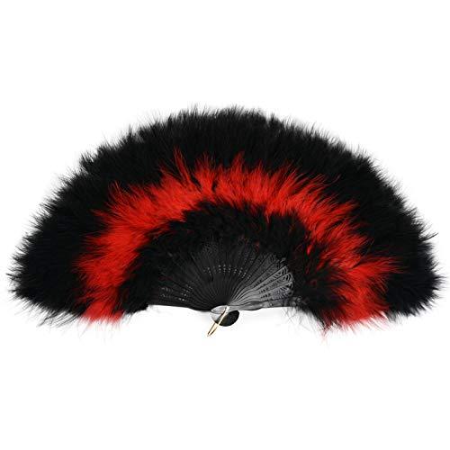 Marabou - Abanico de mano plegable de plumas para disfraz de Halloween, decoración de fiesta de té, color negro y rojo y negro