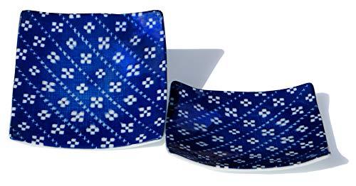 GOTO Lot de 2 assiettes carrées japonaises Bleu impérial 13,5 cm