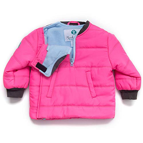 Buckle Me Baby Coat - Safer Car Seat Toddler Girls Winter Jacket - Pink Toasty - Size 2T