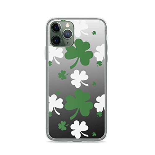 Shamrocks Green and White On Gradated Field Phone Case Compatible with iPhone 12 11 X Xs Xr 8 7 6 6s Plus Mini Pro Max Samsung Galaxy Note S9 S10 S20 Ultra Plus Mini