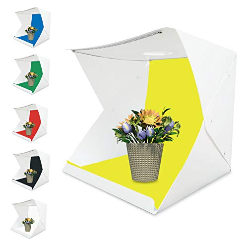Tumax Studio Fotografico Portatile,Mini Studio Fotografico Pieghevole Portatile 30x 30 cm con 2x Luci a LED 6 Colori Fondali