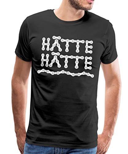 Hätte Hätte Fahrradkette Spruch Männer Premium T-Shirt, 3XL, Schwarz